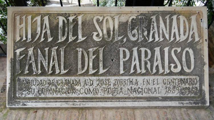 Placa homenaje a Jose Zorrilla en el Carmen