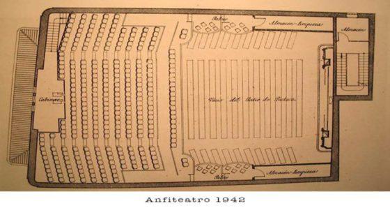 Plano del Anfiteatro del Cine Aliatar en 1942.