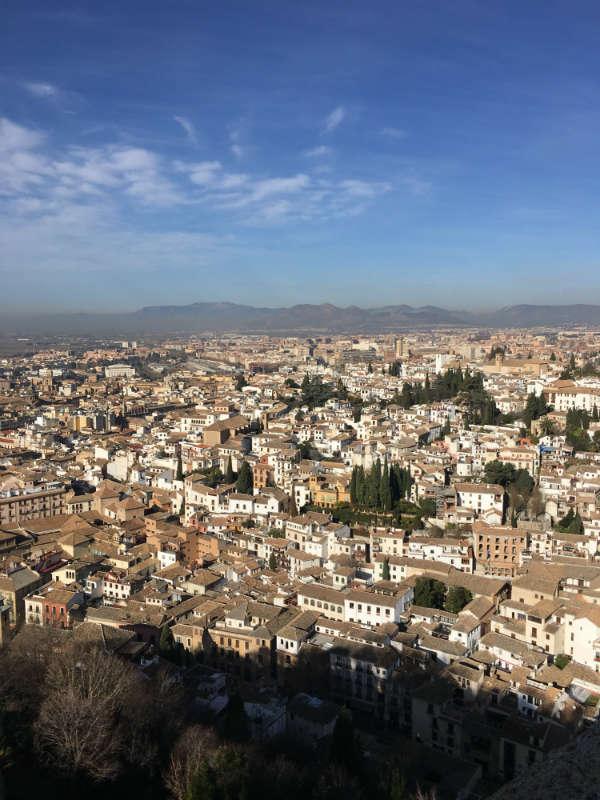 Vistas del Albaicín y Granada desde la Torre de la Vela, Alhambra.