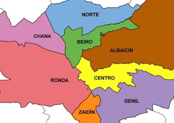 Centro de Granada. Distritos de Granada Ciudad