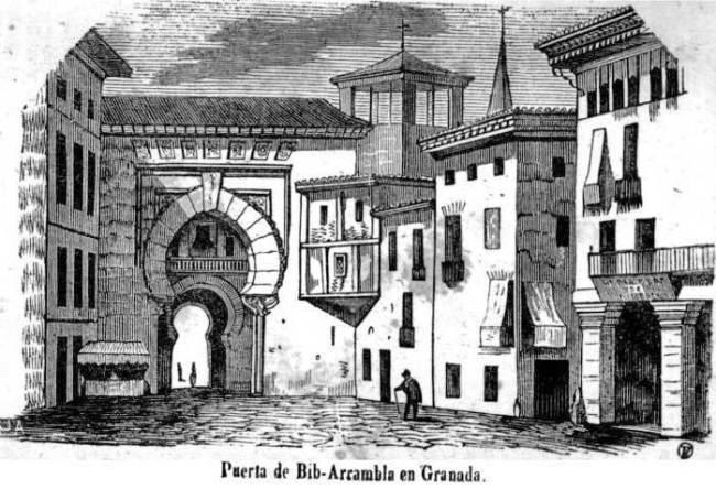 Grabado-Francisco_de_paula_mellado-Puerta-de-BibRambla Granada