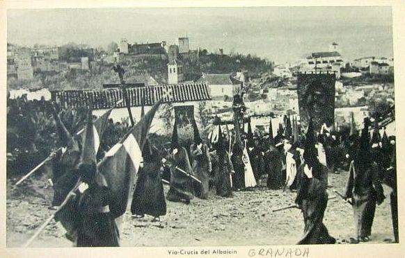 Postal del Vía Crucis por el Albaicín.
