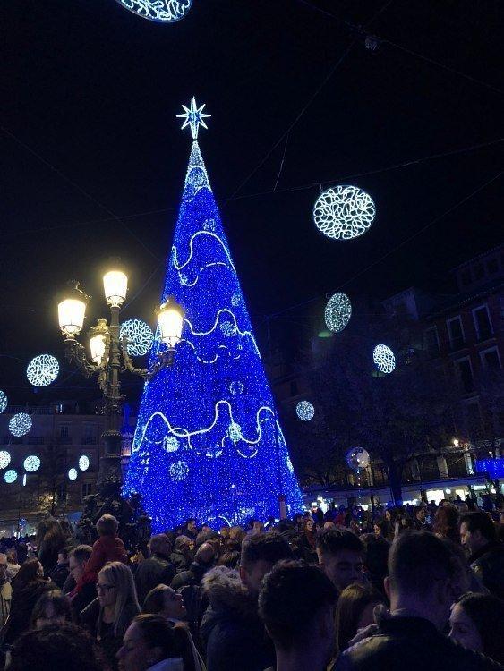 Árbol de Navidad en mitad de Plaza de Bib-Rambla