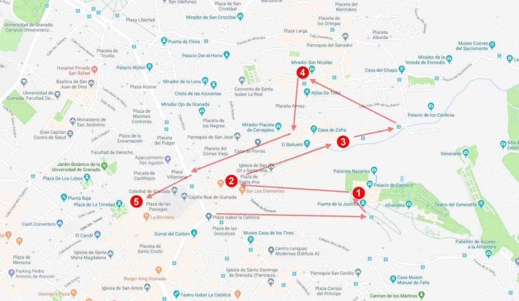 que ver en granada en un dia mapa